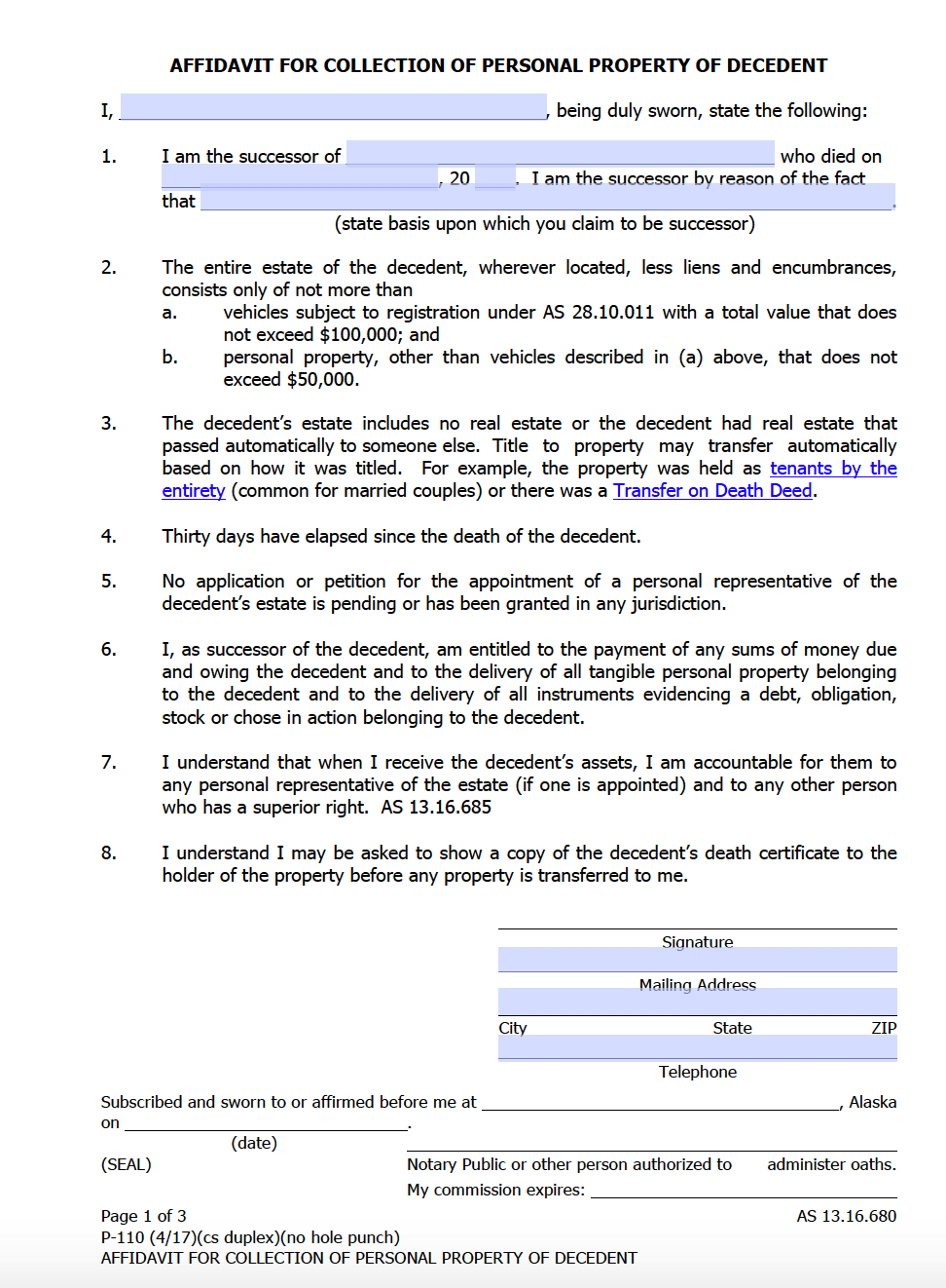 Alaska Small Estate Affidavit Form P 110 Affidavit Forms