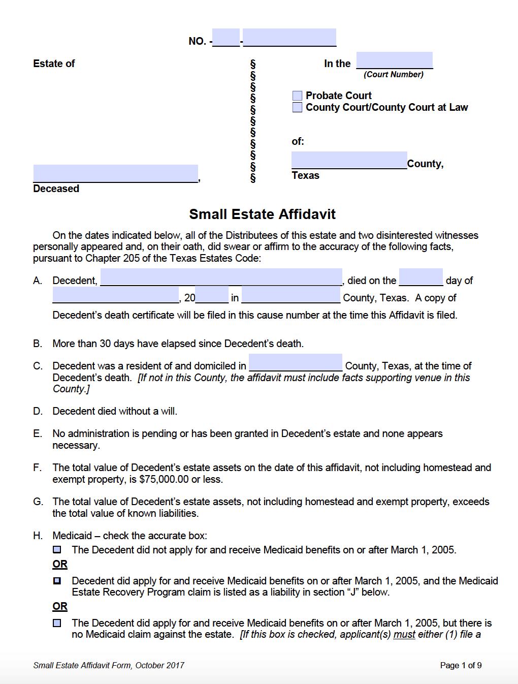affidavit texas estate pdf form tx adobe