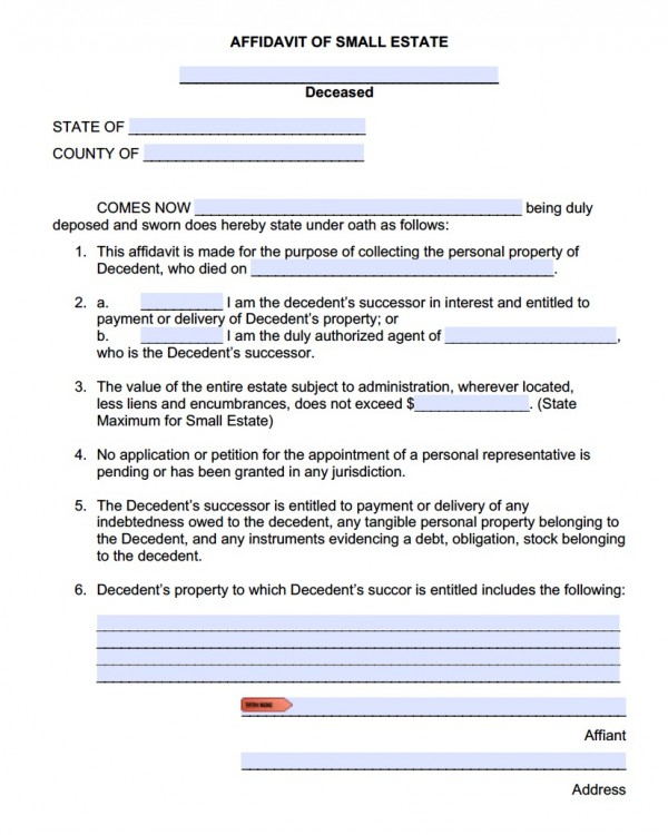 Free Small Estate Affidavit Forms  Adobe Pdf  Ms Word Templates