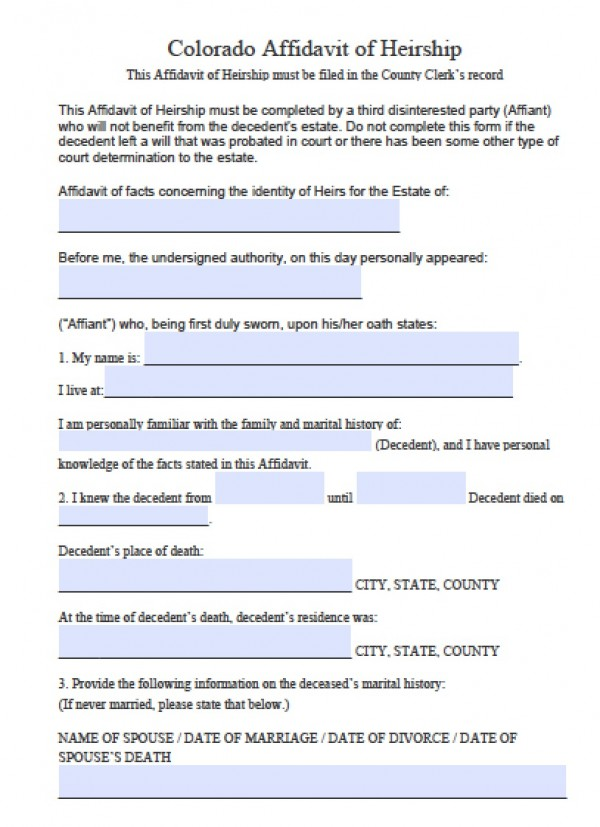 Free Colorado Affidavit Of Heirship Form  Pdf  Word