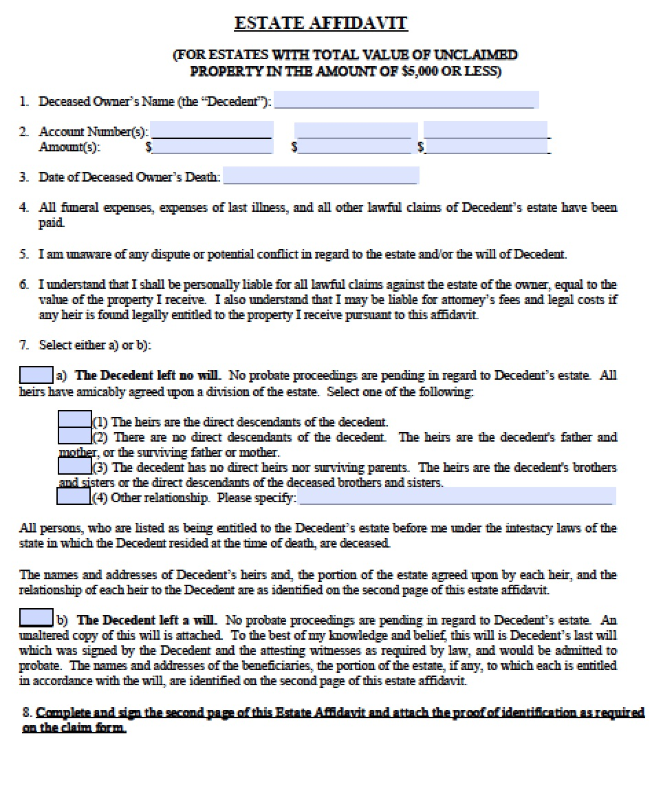 Free Florida Small Estate Affidavit Form | PDF - Word