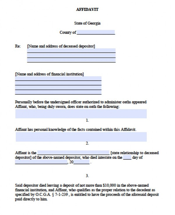Free Georgia Small Estate Banking Affidavit Form  Pdf  Word