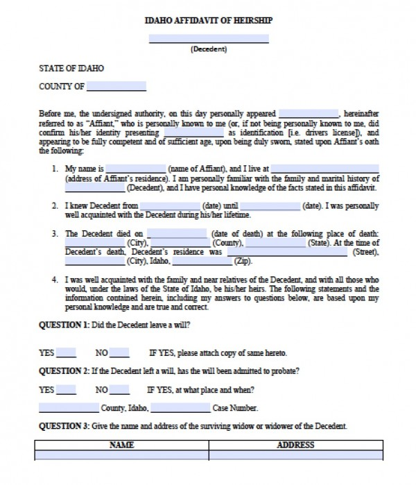 Free Idaho Affidavit Of Heirship Form | Pdf - Word