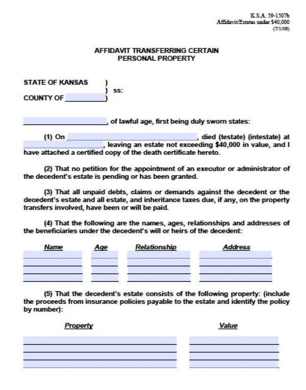 Free Kansas Small Estate Affidavit Form | PDF - Word