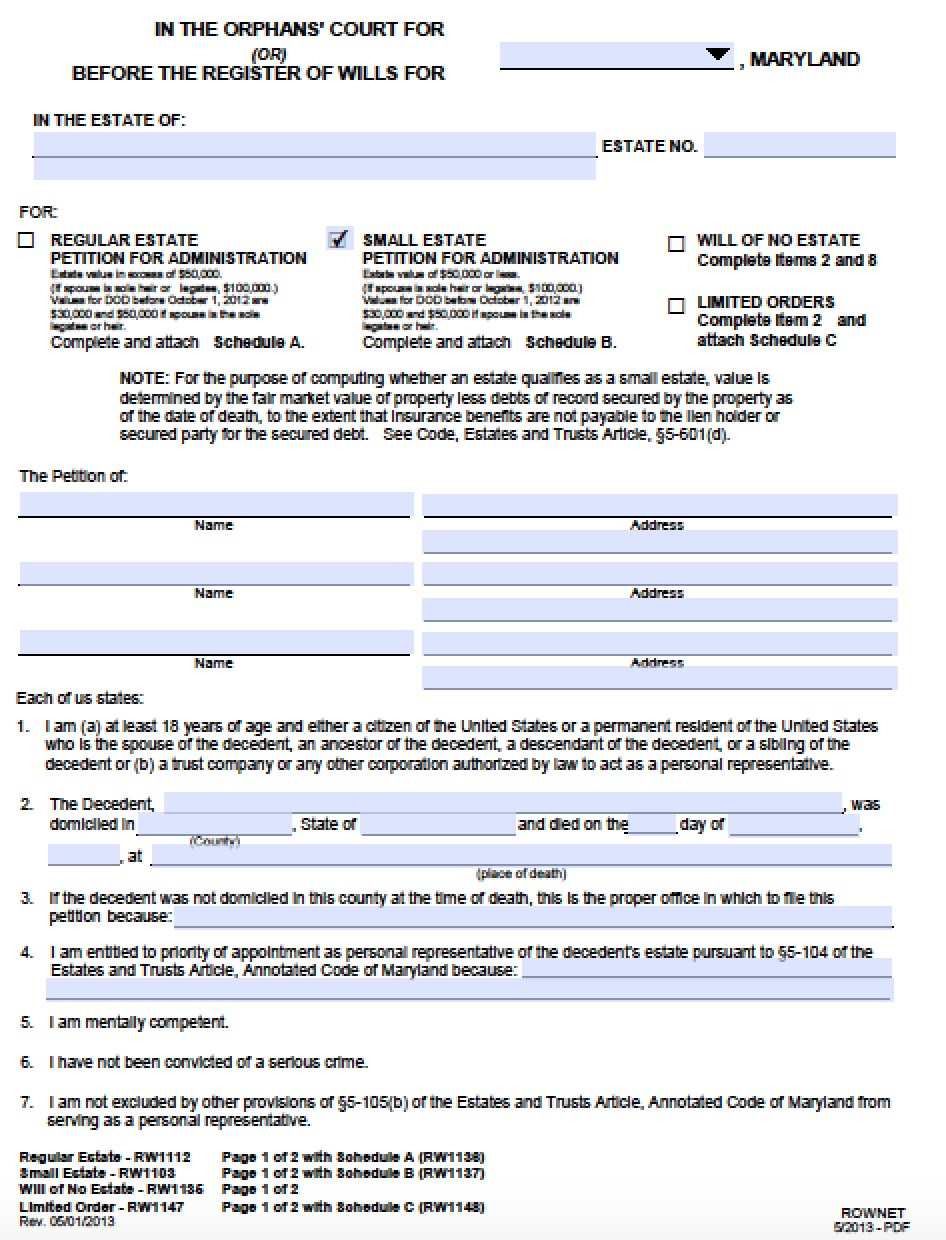 Free maryland small estate affidavit petition packet form pdf free maryland small estate affidavit petition packet form pdf word 1betcityfo Image collections