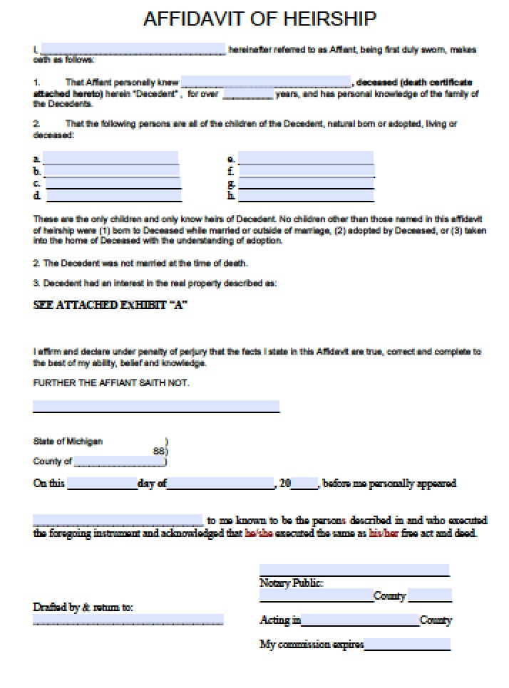 Free Michigan Affidavit Of Heirship Form  Pdf  Word