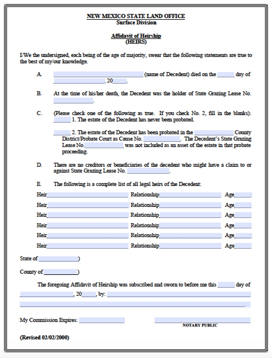 Free New Mexico Affidavit of Heirship HEIRS Form – Free Affidavit Form Download