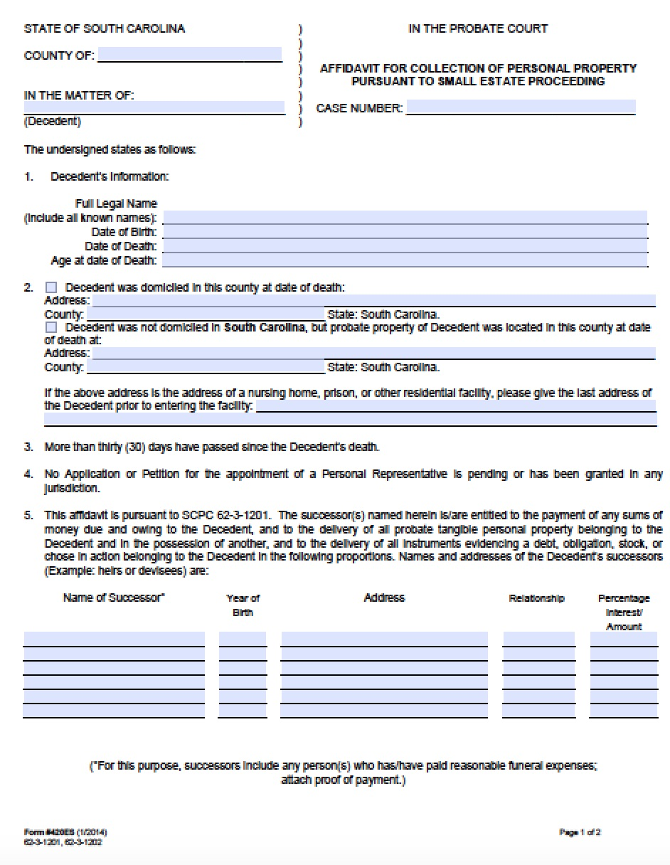 Free South Carolina Small Estate Affidavit | 420ES Form | PDF - Word