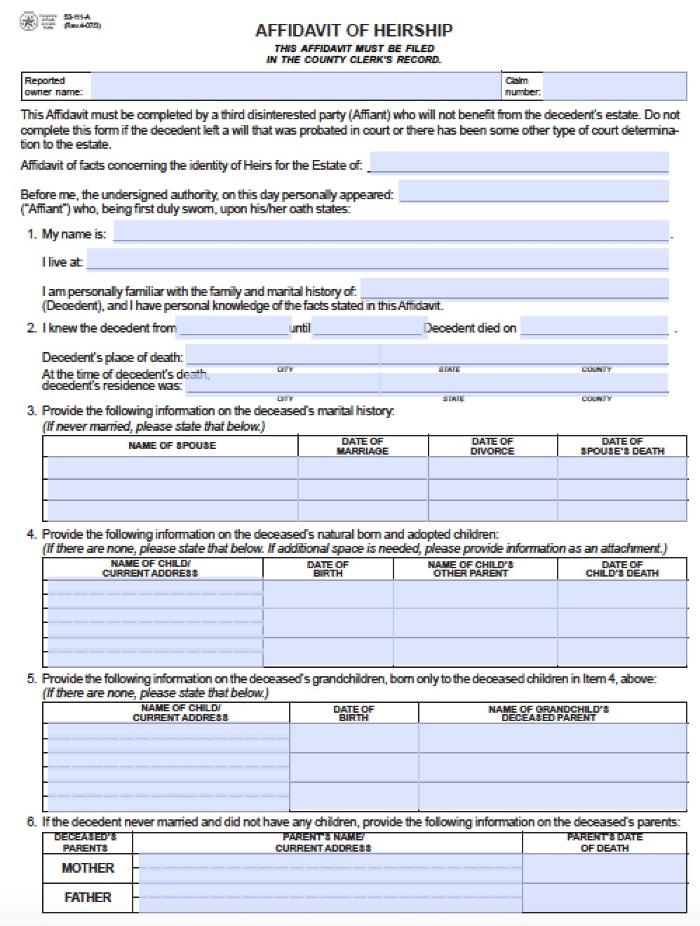 Free Texas Affidavit Of Heirship 53 111 A Form Pdf Word
