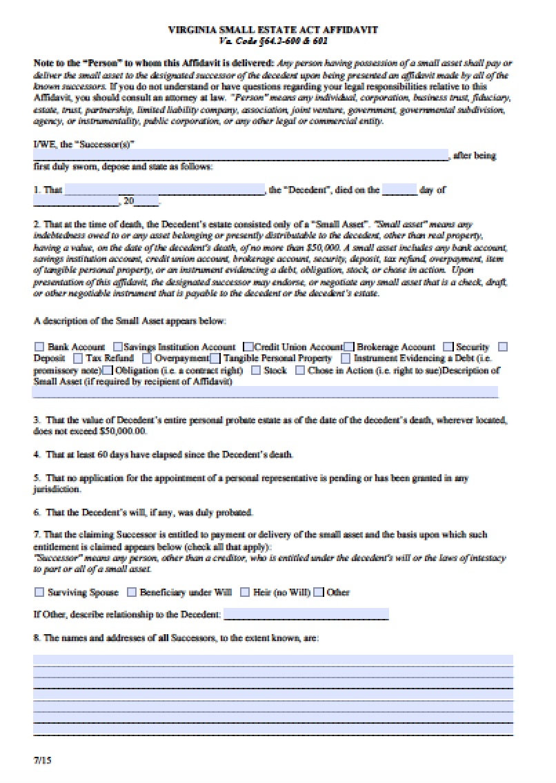 virginia small estate affidavit Free Virginia Small Estate Affidavit Form | PDF - Word
