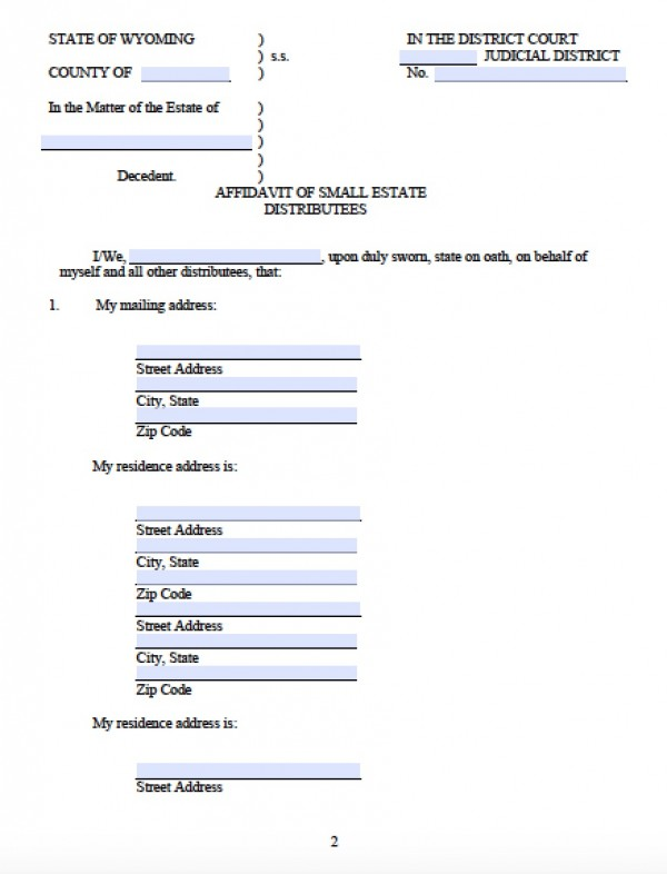 Free Wyoming Small Estate Affidavit Form PDF Word