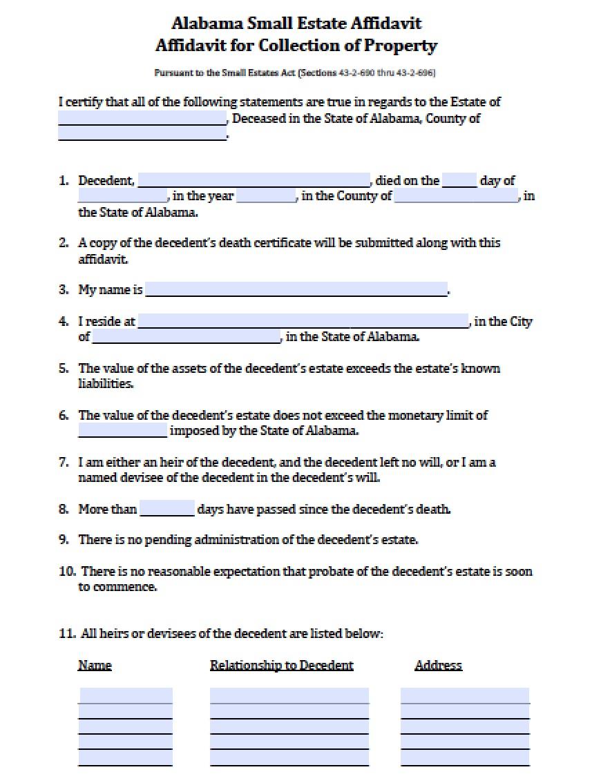 photograph regarding Free Printable Small Estate Affidavit Form known as Totally free Alabama Lower Estate Affidavit Variety PDF - Term