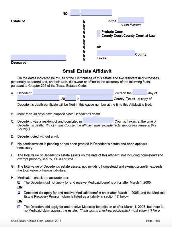 Texas Small Estate Affidavit - Adobe PDF