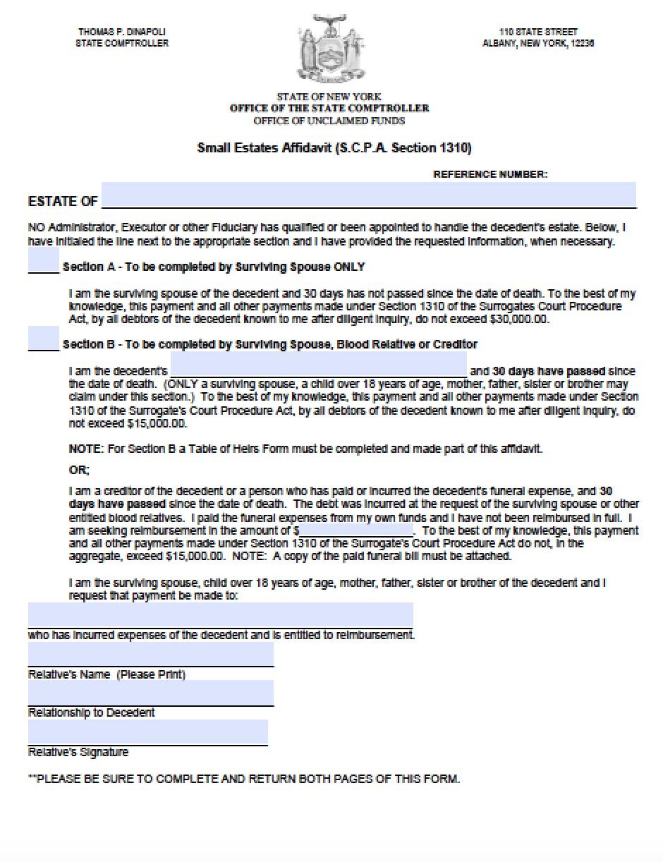 Free New York Small Estate Affidavit   Online Form   PDF   Word